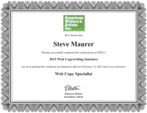 Certificate of Completion for AWAI Web Copy Specialist