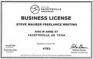 City of Fayetteville, Arkansas Business License for Steve Maurer Freelance Writing, a B2B industrial copywriter