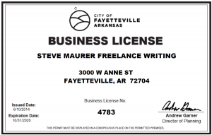 2020 City of Fayetteville, Arkansas Business License or Steve Maurer Freelance Writing