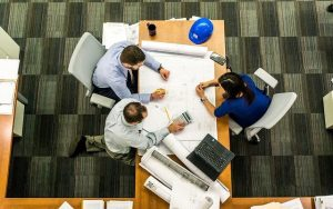 People meeting to create blueprint for success